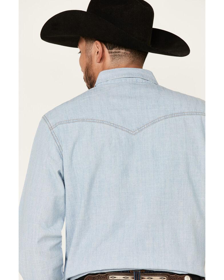 Wrangler Retro Men's Long Sleeve Denim Snap Shirt, Light Blue, hi-res