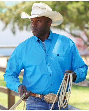 Cinch Men's Turquoise Long Sleeve Plain Weave Shirt , Turquoise, hi-res