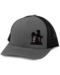 Oil Field Hats Men's Heather Grey & Black Patriot PJ Cowboy Embroidered Mesh-Back Ball Cap, Grey, hi-res