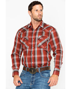 Ely Cattleman Men's Textured Plaid Long Sleeve Western Shirt - Tall, Rust Copper, hi-res