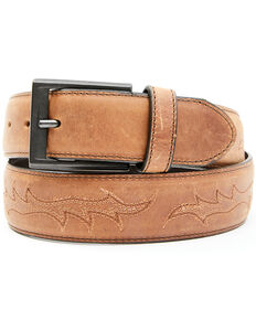 Cody James Men's Brown Embroidered Belt, Brown, hi-res