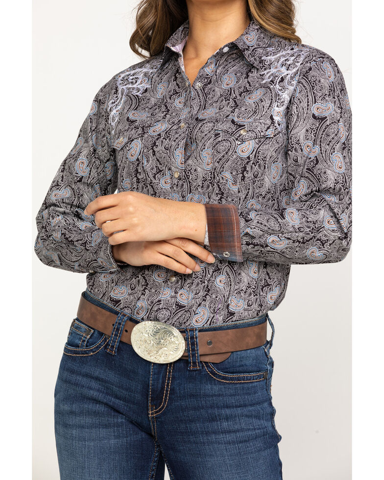 Rough Stock by Panhandle Women's Paisley Scroll Embroidered Snap Shirt, Brown, hi-res