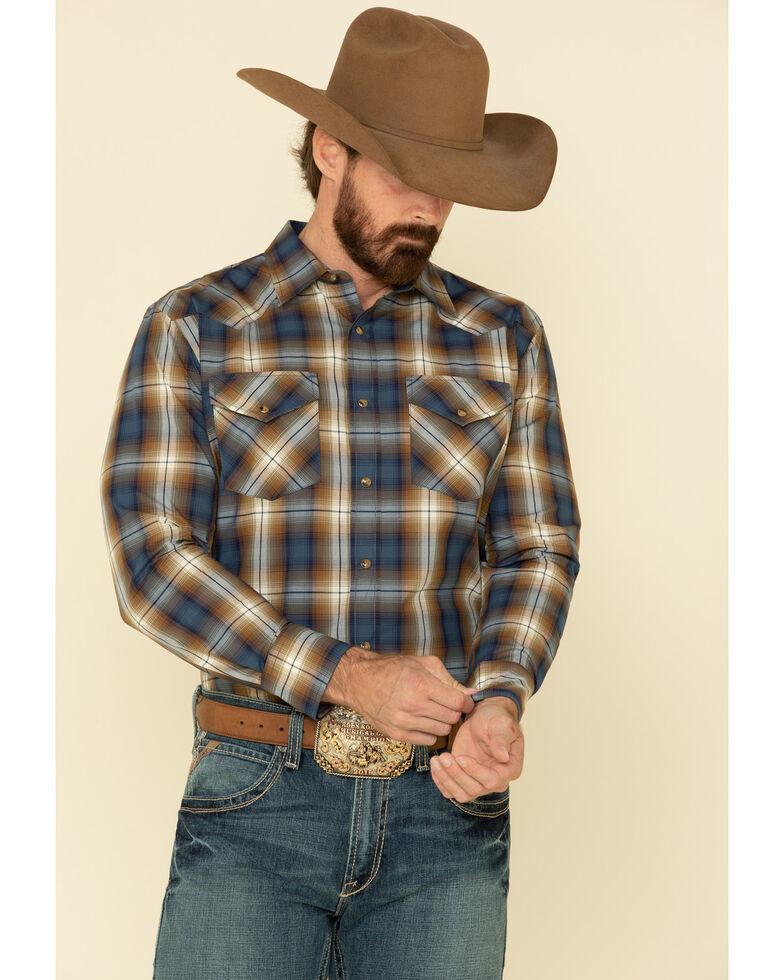 Pendleton Men's Blue Frontier Plaid Long Sleeve Western Shirt , Blue, hi-res
