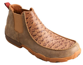 Twisted X Men's Smooth Ostrich Leather Driving Mocs, Bomber, hi-res