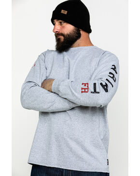 Ariat Men's FR Ascend Logo Crew Long Sleeve Work Shirt , Heather Grey, hi-res