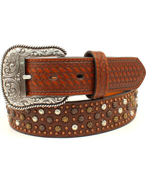Ariat Men's Genuine Leather Stud & Basketweave Belt, Brown, hi-res