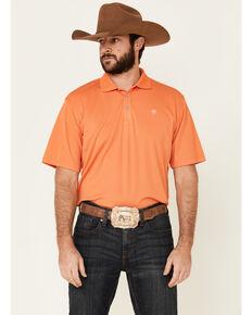Ariat Men's Orange Solid Tek Short Sleeve Polo Shirt , Orange, hi-res