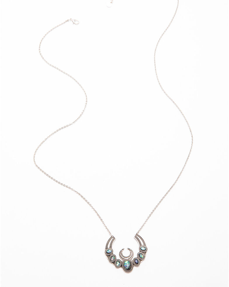 Shyanne Women's Autumn Abalone Squash Blossom Necklace , Silver, hi-res