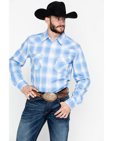 Wrangler Retro Men's Plaid Long Sleeve Western Shirt - Tall , Blue, hi-res