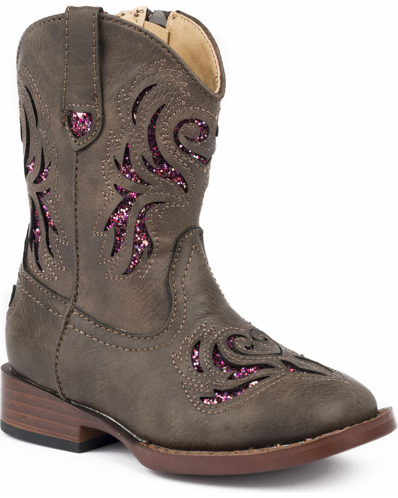Roper Toddler Girls' Brown Glitter Breeze Cowgirl Boots - Square Toe, Brown, hi-res