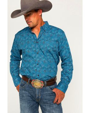 Cody James Men's Paisley Long Sleeve Shirt, Blue, hi-res