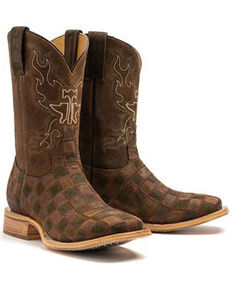 Tin Haul Men's Rough Patch Western Boots - Wide Square Toe, Brown, hi-res