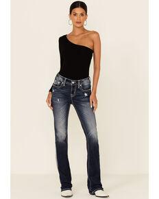Miss Me Women's Traditional Big Border Bootcut Jeans, Blue, hi-res