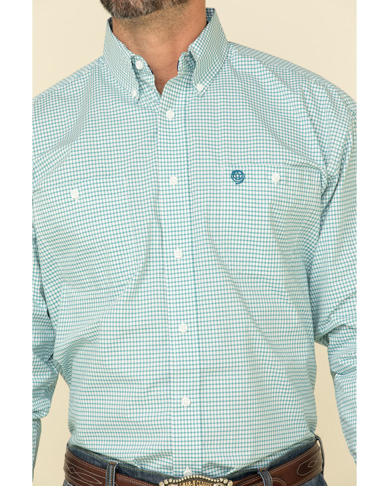George Strait by Wrangler Men's Teal Small Check Plaid Long Sleeve Western Shirt - Big , Teal, hi-res