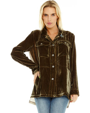 Aratta Women's Fall Shadow Shirt Jacket, Olive, hi-res