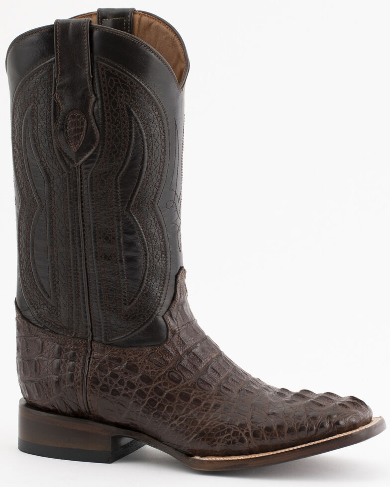 Ferrini Caiman Tail Blue Embroidered Cowboy Boots - Square Toe, Chocolate, hi-res
