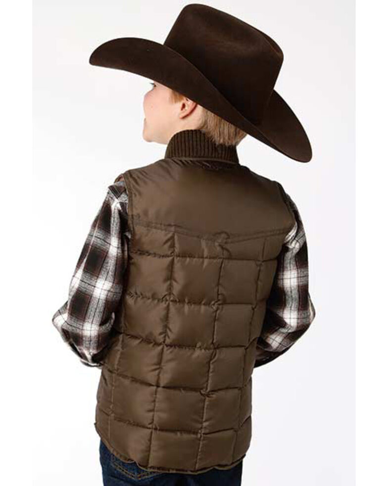 Roper Boys' Brown Rangewear Quilted Poly Fill Down Vest , Brown, hi-res