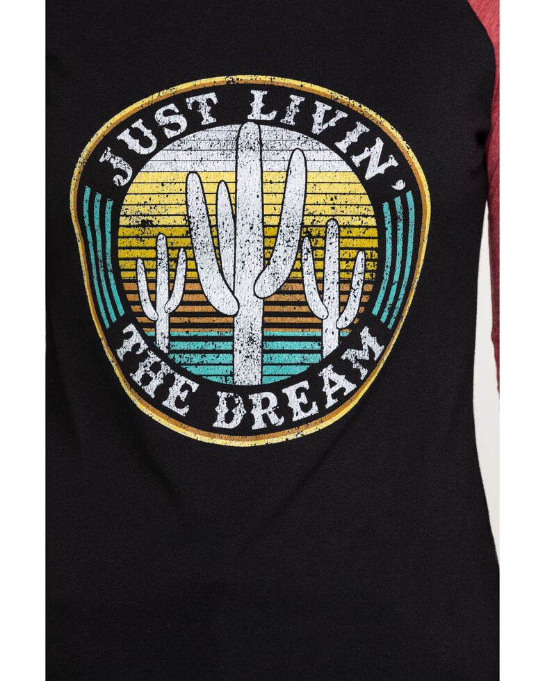 Rock & Roll Cowgirl Women's Just Livin' The Dream Baseball Tee, Black, hi-res