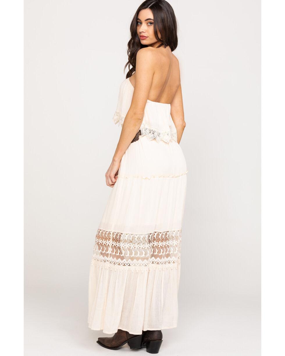 Flying Tomato Women's Ivory Strapless Lace Hem Dress, Ivory, hi-res