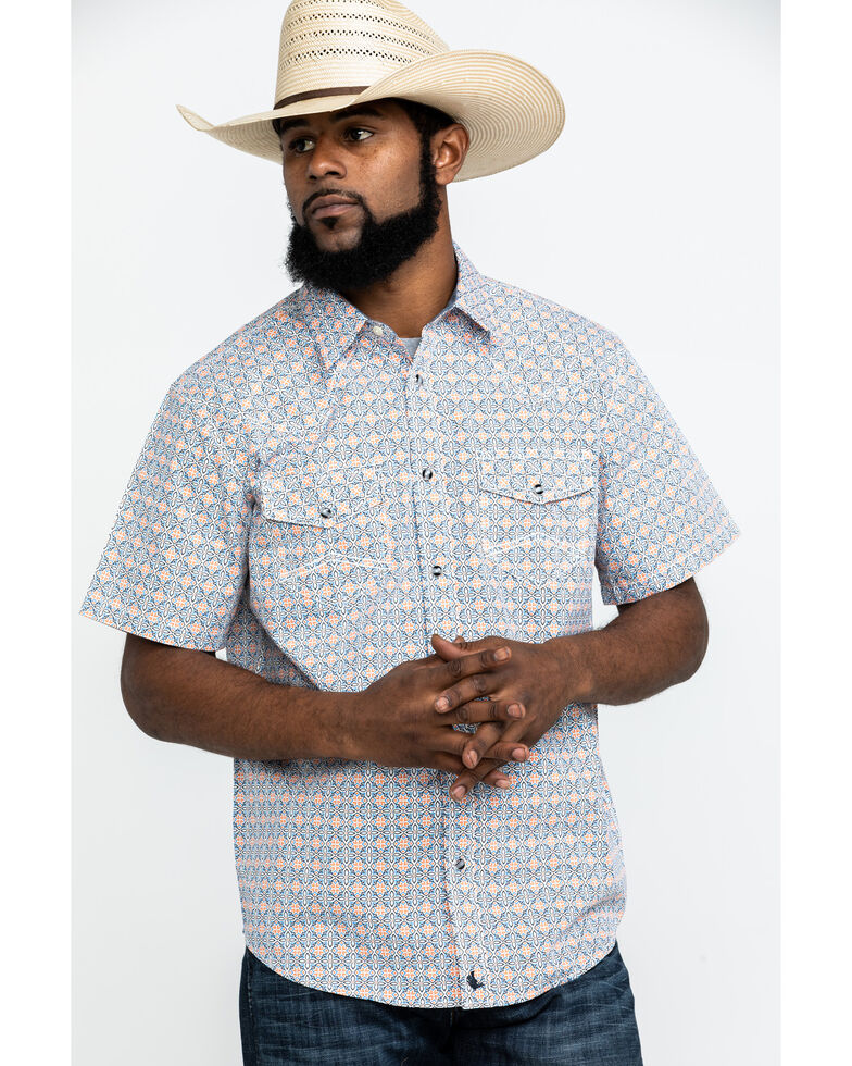 Cody James Men's Solitas Tile Geo Print Short Sleeve Western Shirt , Blue, hi-res