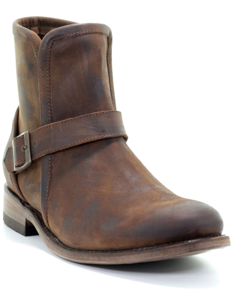 Corrral Men's Chocolate Harness Moto Boots - Round Toe, Chocolate, hi-res
