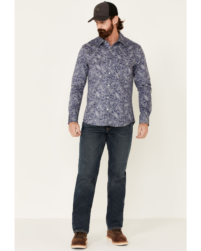 Rock & Roll Denim Men's FR Blue Paisley Print Long Sleeve Work Shirt - Big , Indigo, hi-res