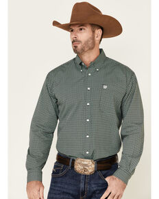 Cinch Men's Black Geo Print Long Sleeve Button-Down Western Shirt - Big , Black, hi-res