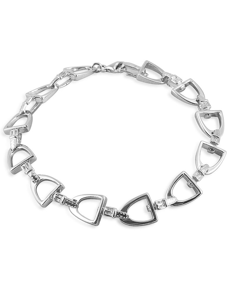 Kelly Herd Women's Small English Stirrup Bracelet , Silver, hi-res