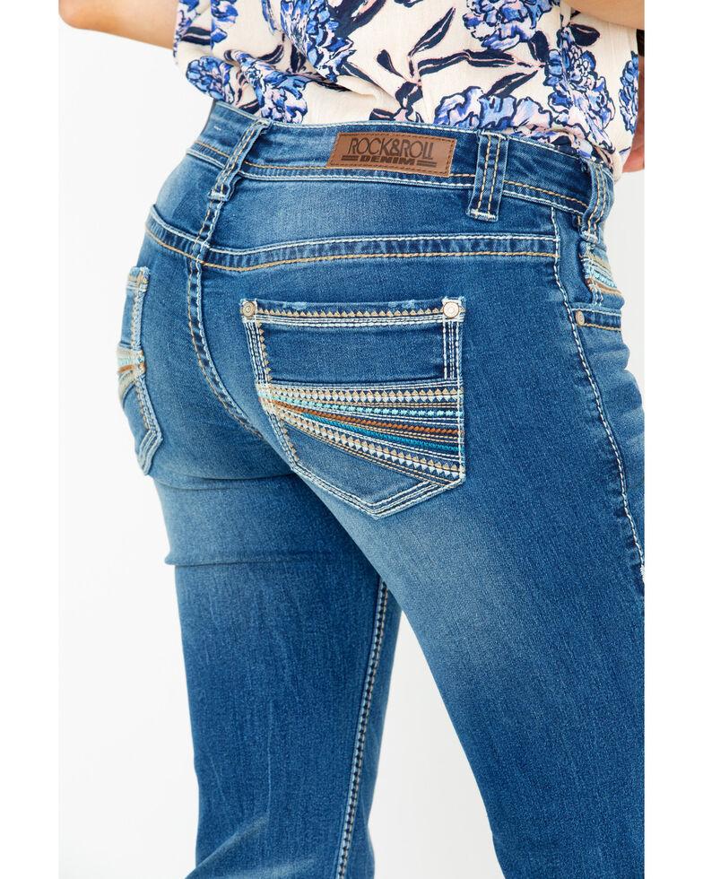 Rock & Roll Cowgirl Women's Multi Color Thread Stretch Jeans, Medium Blue, hi-res