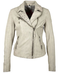 Mauritius Women's Off White Summer Just Smile Leather Jacket , Off White, hi-res