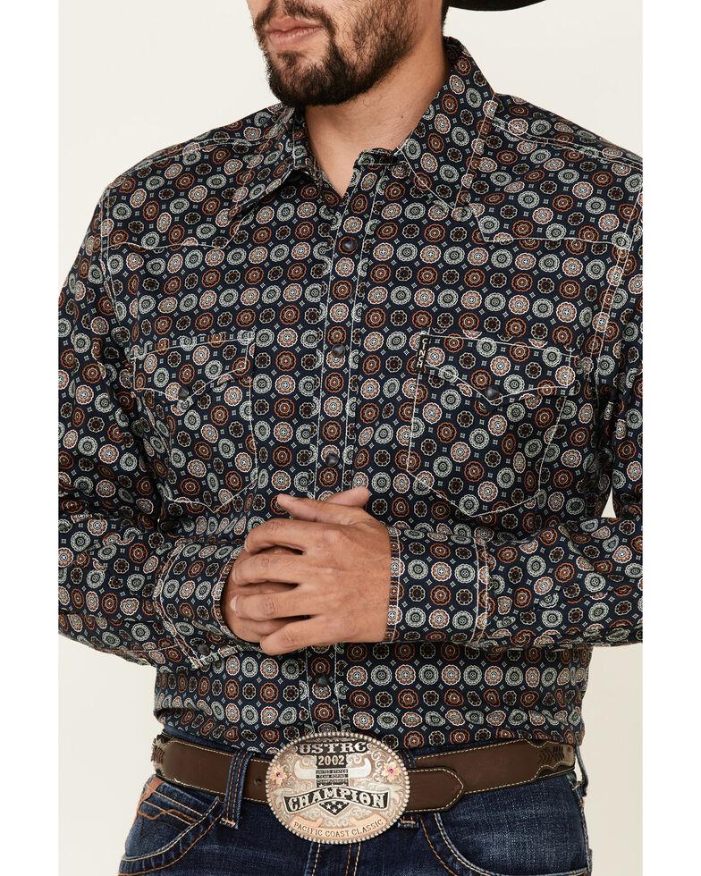 Cinch Men's Modern Fit Navy Large Geo Print Long Sleeve Western Shirt , Navy, hi-res