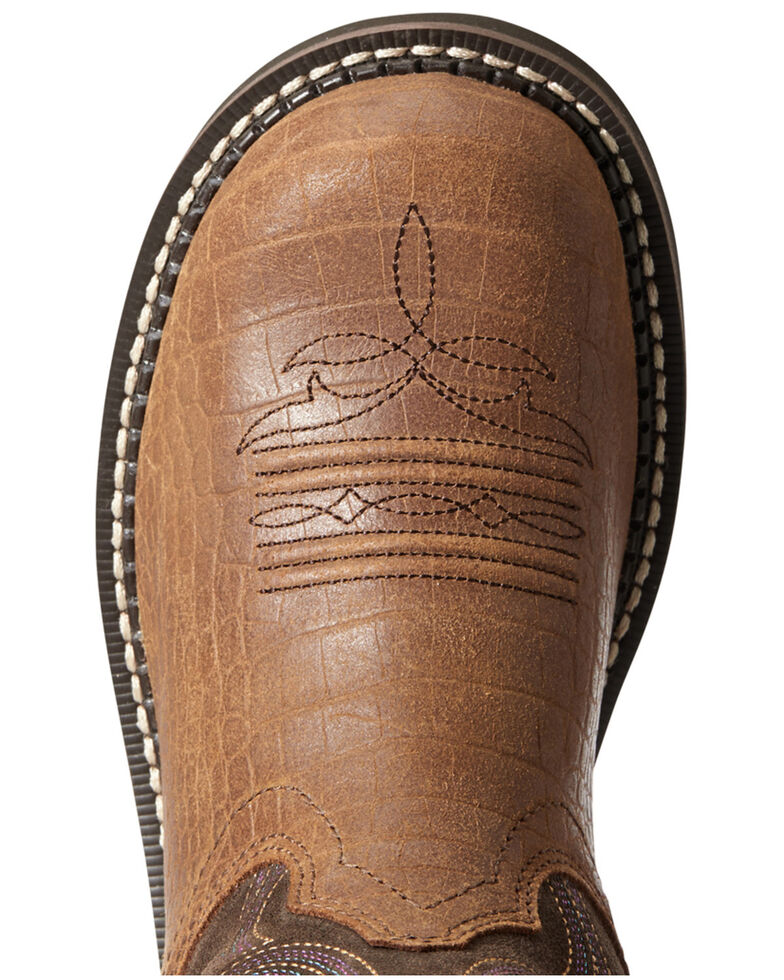 Ariat Women's Croc Print Fatbaby Western Boots - Round Toe, Brown, hi-res