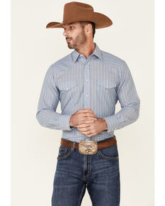 Roper Men's Blue Stripe Long Sleeve Snap Western Shirt , Blue, hi-res