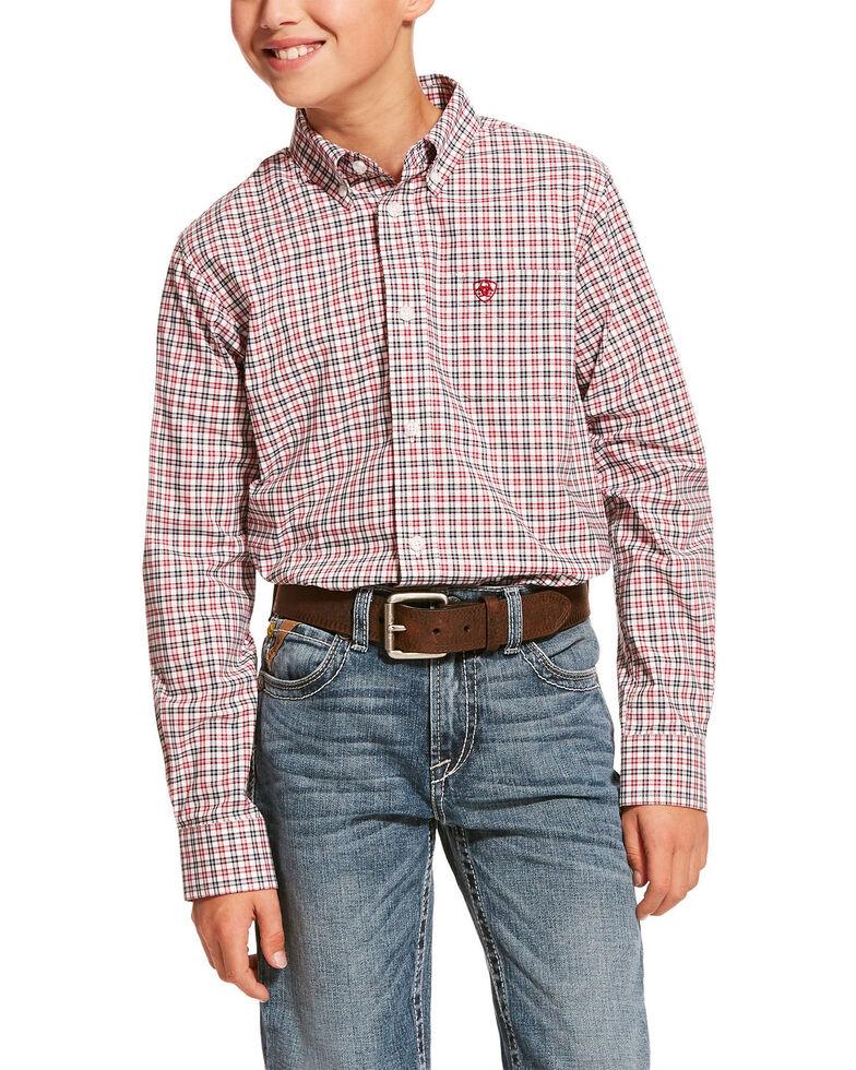 Ariat Boys' Dagley Stretch Plaid Long Sleeve Western Shirt , White, hi-res