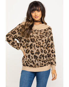 Others Follow Women's Off Shoulder Milo Tunic Sweater, Leopard, hi-res