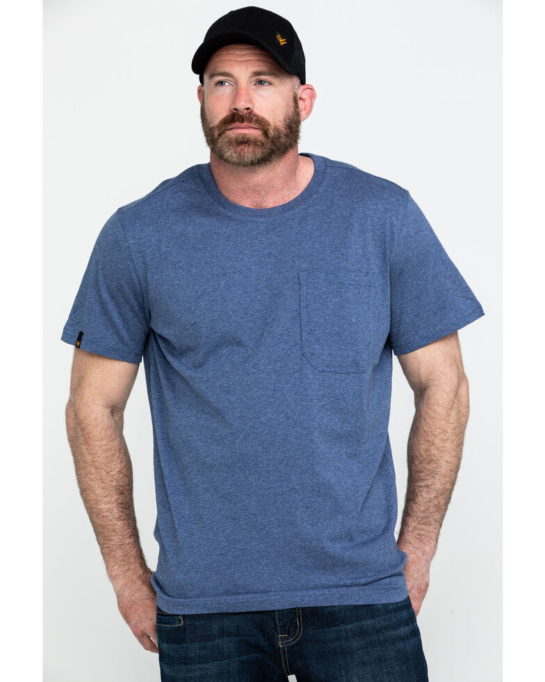 Hawx® Men's Pocket Crew Short Sleeve Work T-Shirt - Tall , Heather Blue, hi-res