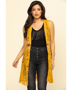 Vocal Women's Mustard Lace Vest, Dark Yellow, hi-res