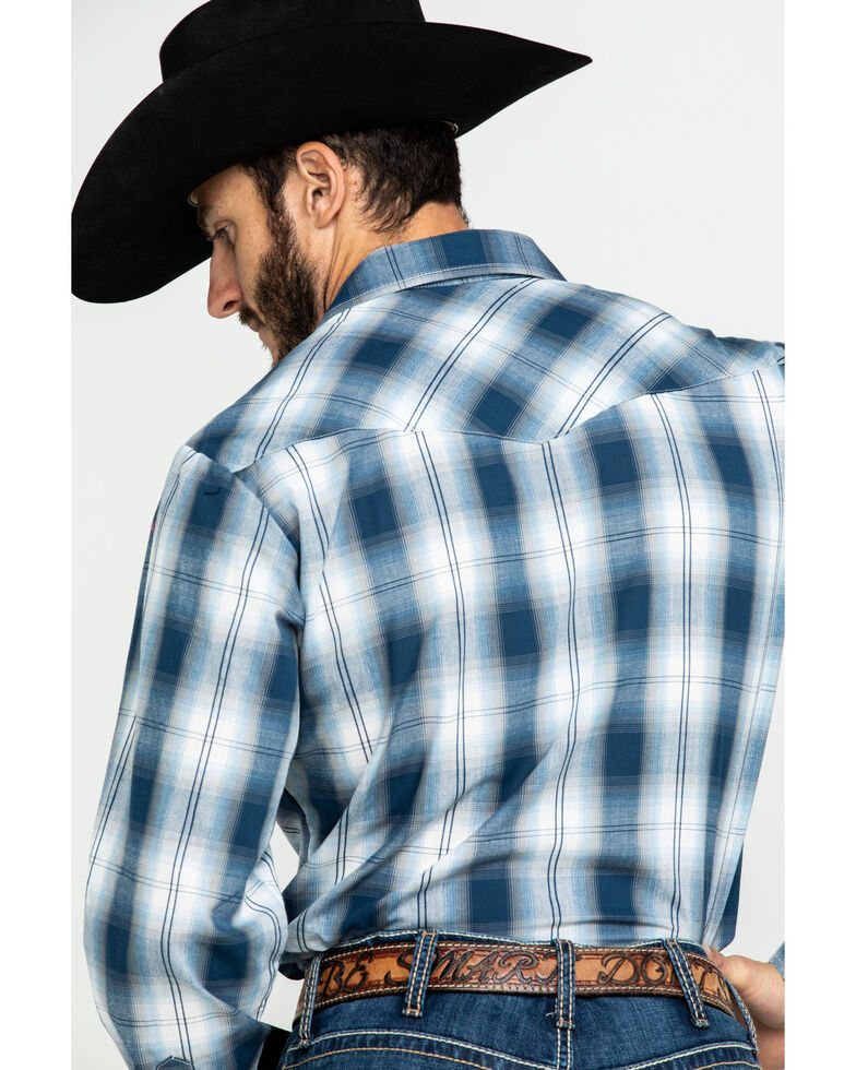 Roper Men's Classic Multi Plaid Snap Long Sleeve Western Shirt , Blue, hi-res