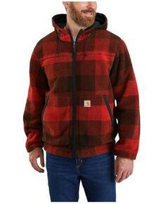 Carhartt Men's Red Plaid Reversible Zip-Front Rain Defender Fleece Work Jacket , Red, hi-res