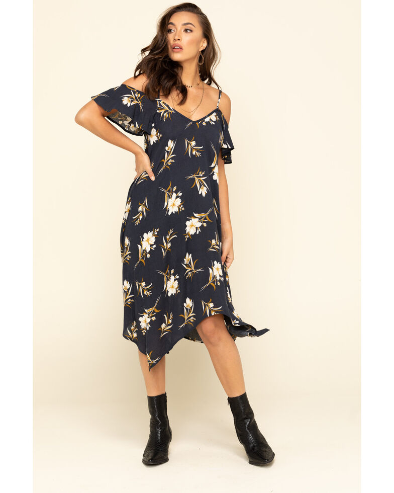 Jody of California Women's Navy Floral Cold Shoulder Slip Dress, Navy, hi-res