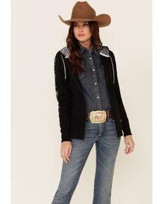 HOOey Women's Black Rope Like A Girl Zip-Up Hooded Sweatshirt , Black, hi-res