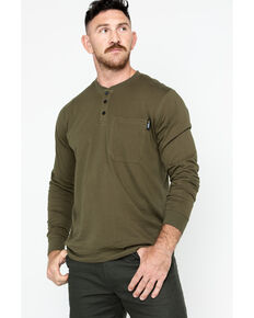Hawx® Men's Olive Pocket Henley Work Shirt - Big , Olive, hi-res