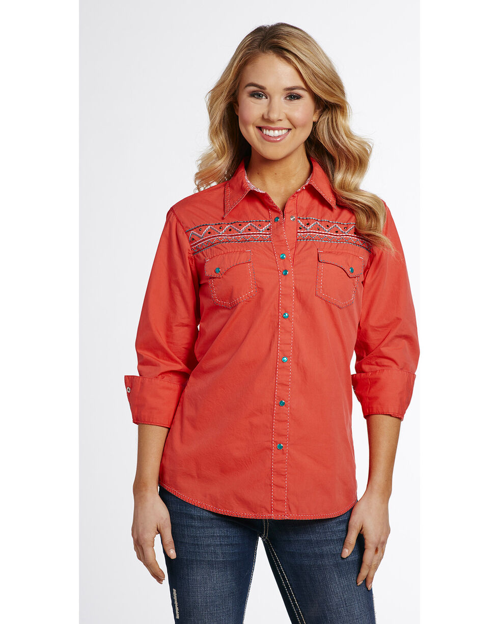 Cowgirl Up Women's Embroidered Snap Shirt , Red, hi-res