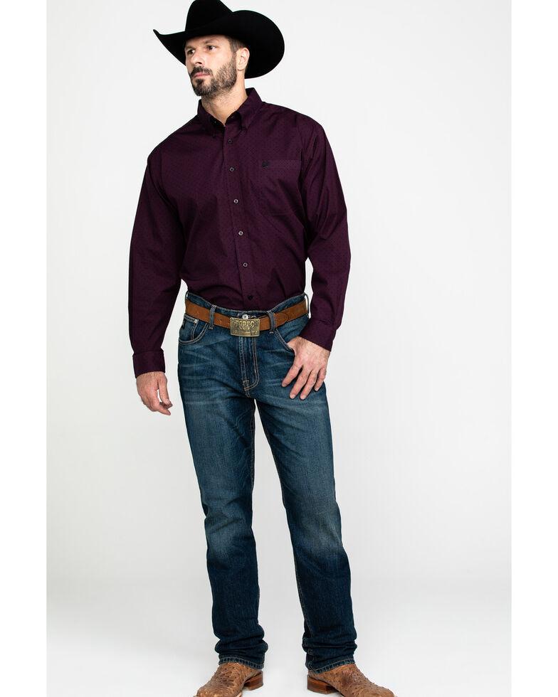 Cinch Men's Purple Woven Geo Print Long Sleeve Western Shirt , Purple, hi-res