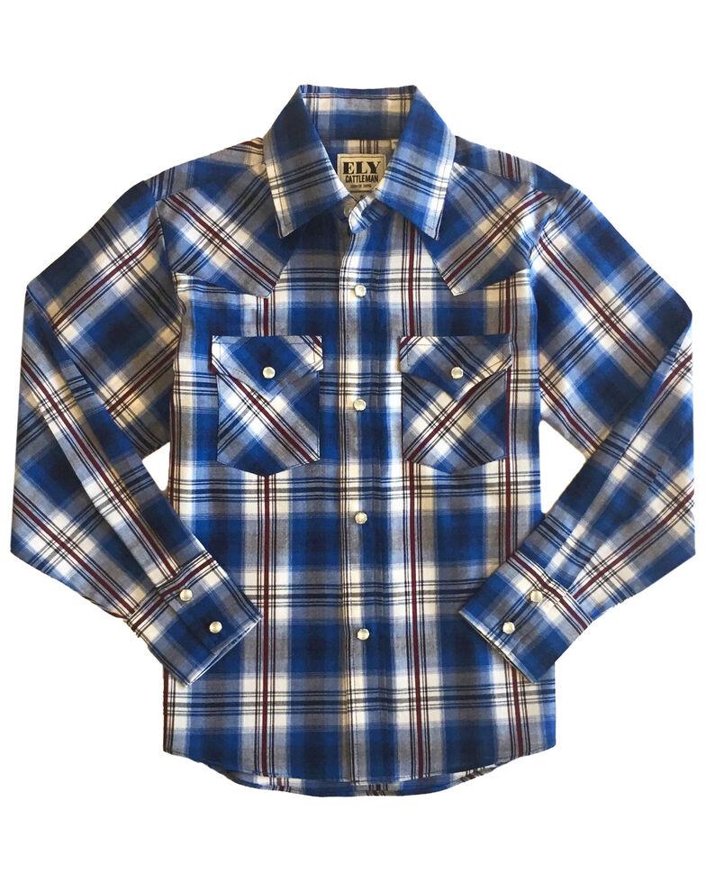 Ely Walker Boys' Cobalt Plaid Long Sleeve Western Shirt , Blue, hi-res