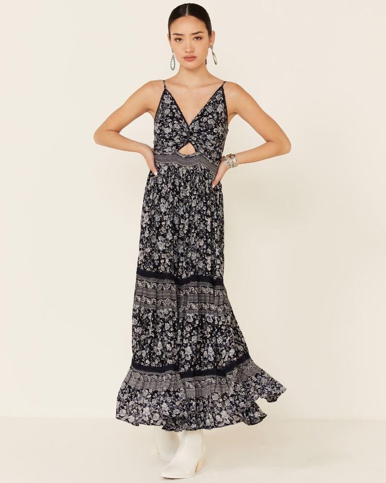 Angie Women's Border Print Maxi Dress, Navy, hi-res