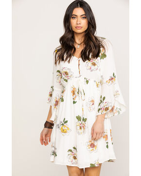 Jody of California Women's Floral Button Up Bell Sleeve Dress, Ivory, hi-res