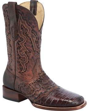 Corral Brown Caiman Vamp Cowboy Boots - Square Toe , Brown, hi-res