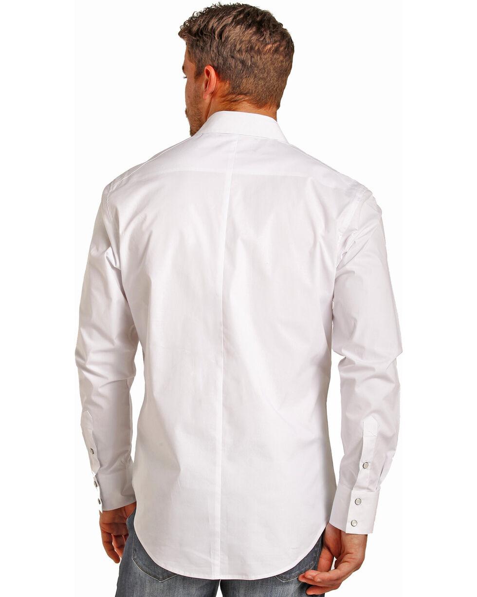 Rock & Roll Cowboy Men's White Long Sleeve Snap Shirt, White, hi-res