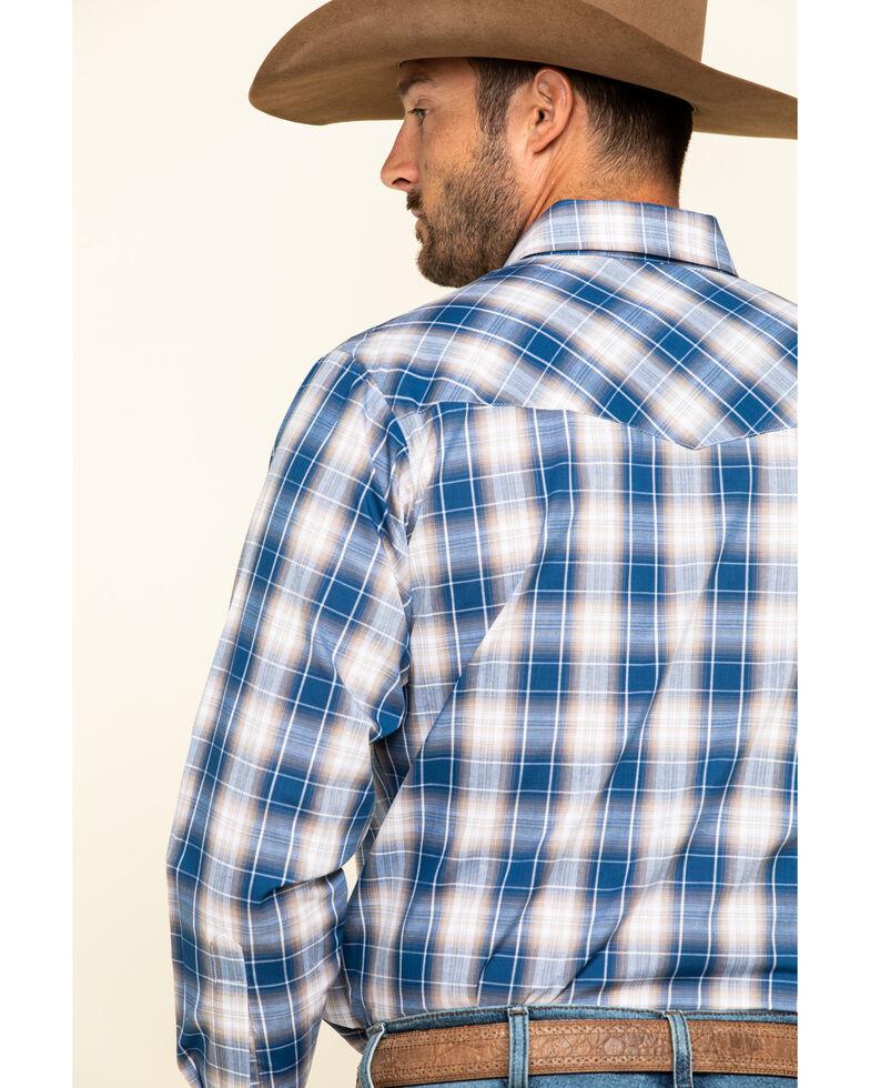 Ely Cattleman Men's Blue Med Plaid Long Sleeve Western Shirt - Big , Blue, hi-res
